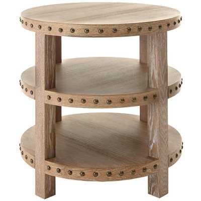 Nailhead Light Washed Oak End Table - Home Depot