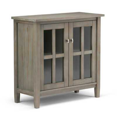Warm Shaker Distressed Grey Low Storage Cabinet - Home Depot