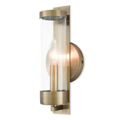 Livex Lighting Castleton 1-Light Antique Brass Sconce - Home Depot