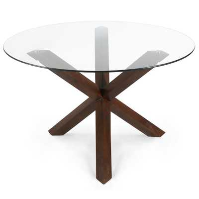 Poly and Bark 48 in. Kennedy Walnut (Brown) Round Dining Table - Home Depot