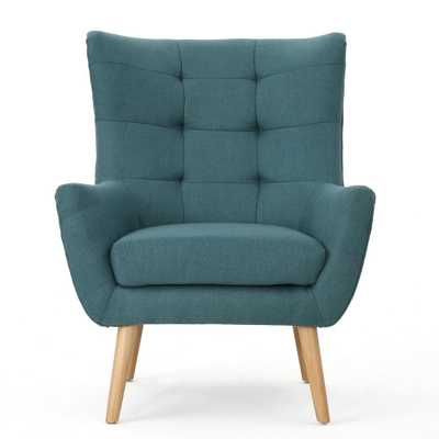 Noble House Tamsin Mid-Century Modern Tufted Back Dark Teal Fabric Club Chair, Dark Teal/Natural - Home Depot