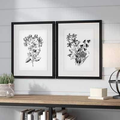 'Botanical Black and White' 2 Piece Framed Acrylic Painting Print Set - Birch Lane