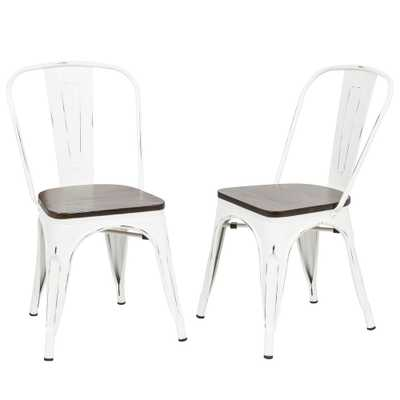 Ash Antique White Wood Seat Dining Chair (Set of 2) - Home Depot
