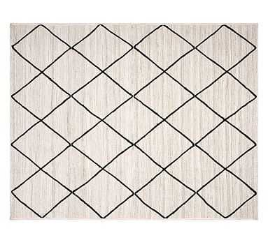 Jute Lattice Rug, Navy/Ivory - Pottery Barn