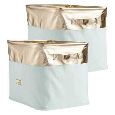 Store-It Canvas Medium Bin, Set of 2, Light Aqua/Gold - Pottery Barn Teen