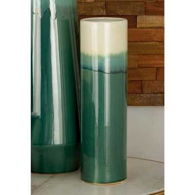 14 in. Green and White Gradient Ceramic Decorative Vase - Home Depot