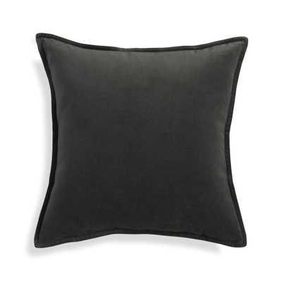 "Brenner Grey Velvet Pillow Cover 20"" - Crate and Barrel"