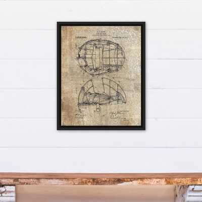 16 in. x 20 in. ''Baseball Mask Patent Print'' Printed Framed Canvas Wall Art - Home Depot