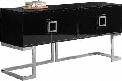 Evie Modern Black Lacquer Sideboard with Chrome Stainless Steel Trim and Base - eBay
