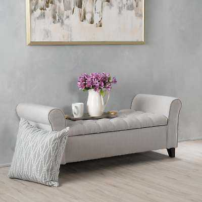 Keiko Tufted Fabric Armed Storage Ottoman Bench by Christopher Knight Home: Light Grey - eBay