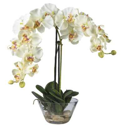 Double Phalaenopsis with Glass Vase Silk Flower Arrangement - Home Depot
