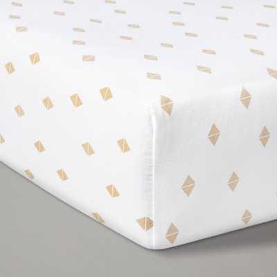 Fitted Crib Sheet Diamonds - Cloud Island White/Beige - Target