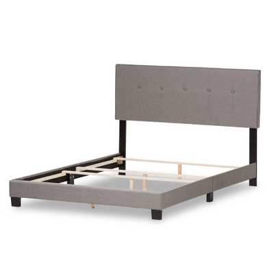 Hampton Gray Fabric Upholstered King Bed - Home Depot