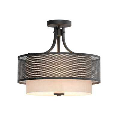 Home Decorators Collection 16 in. 3-Light Bronze Mesh Semi-Flushmount with Inner Cream Fabric Shade - Home Depot