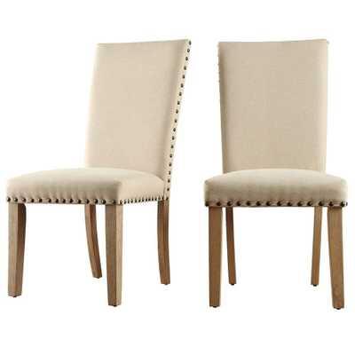 Upton Beige Linen Dining Chair (Set of 2) - Home Depot