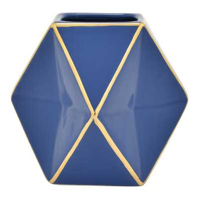 5 in. Blue and Gold Porcelain Vase - Home Depot