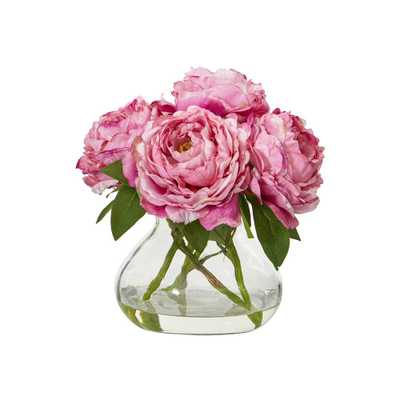 Nearly Natural 10 in. Peony Artificial Arrangement in Glass Vase - Home Depot