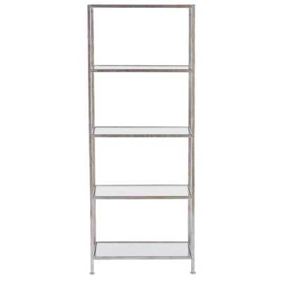 Bella Aged 24 in. Wide Silver Glass Bookcase - Home Depot