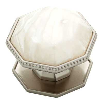 1-1/2 in. Satin Nickel with Faux Capiz Insert Cabinet Knob - Home Depot