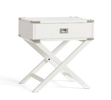 Devon Campaign Bedside Table, Sky White - Pottery Barn