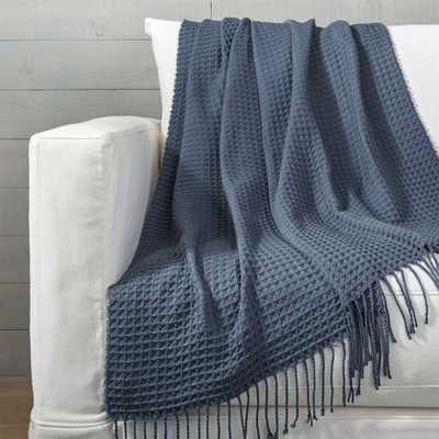 Cecili Blue Waffle Weave Throw - Crate and Barrel
