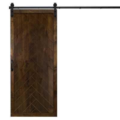 Dogberry Collections 36 in. x 84 in. Herringbone Dark Chocolate Alder Wood Interior Barn Door Slab with Sliding Door Hardware Kit - Home Depot