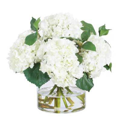 Jane Seymour Botanicals 15 in. Hydrangea in Glass Vase - Home Depot