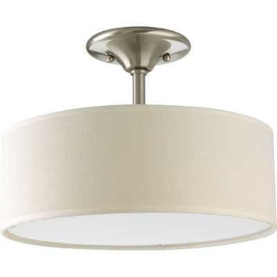 Progress Lighting Inspire Collection 13 in. 2-Light Brushed Nickel Semi-Flushmount - Home Depot