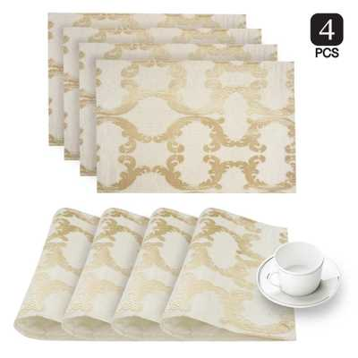 Scroll Gold Linen-Blend Printed Fabric Placemat (Set of 4) - Home Depot