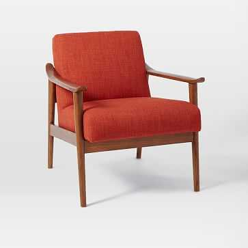 Mid-Century Show Wood Upholstered Chair, Heathered Weave, Cayenne - West Elm