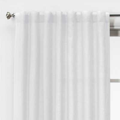 "95""x54"" Light Filtering Linen Window Curtain Panel White - Threshold - Target"