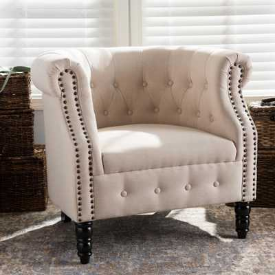 Chesterfield Beige Fabric Upholstered Accent Chair - Home Depot