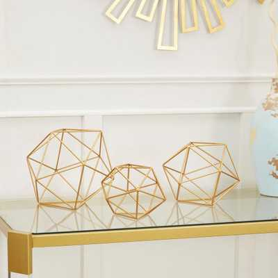 Wire Decorative Sphere Metal (Set of 3), Gold - Home Depot