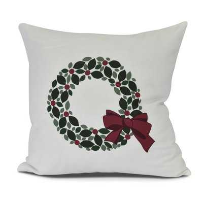 Holly Wreath Floral Print Outdoor Throw Pillow - Wayfair
