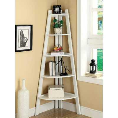 Lyss White Ladder Bookshelf - Home Depot