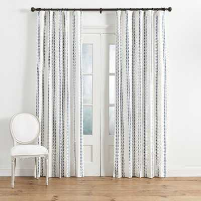 "Ballard Designs Hollis Ditsy Stripe Drapery Panel in Blue - 96"" - Ballard Designs"