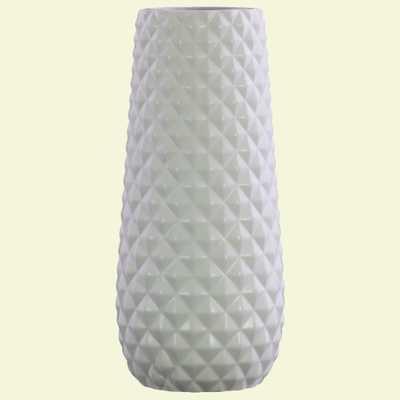 White Matte Stoneware Decorative Vase, Whites - Home Depot