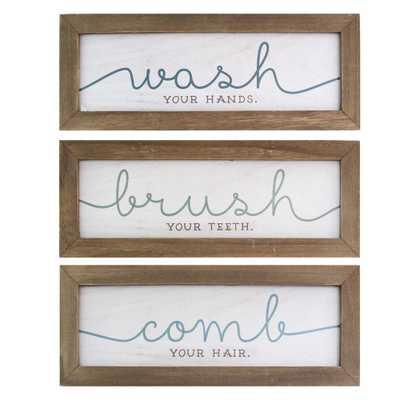 Set of 3 Wash, Brush, Comb Bath Art, Multi - Home Depot