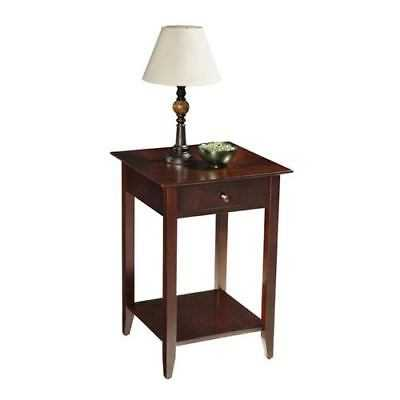 Convenience Concepts American Heritage Espresso End Table with Shelf and Drawer - eBay