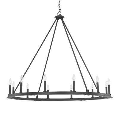 Shayla 12-Light Candle Style Wagon Wheel Chandelier - Birch Lane