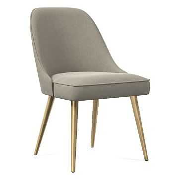 Mid-Century Dining Chair, Metal Leg, Performance Velvet, Stone, Blackened Brass - West Elm