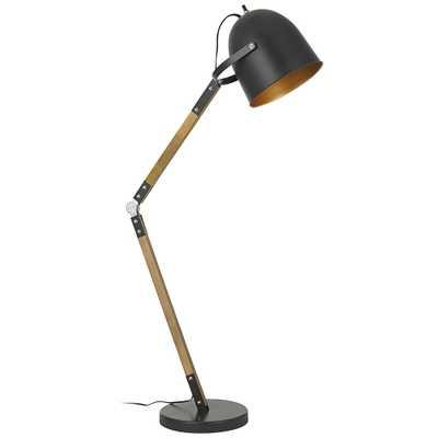 Binimi Matte Black and Wood Floor Lamp - Style # 40V06 - Lamps Plus