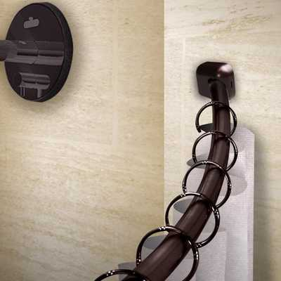 Rod Desyne 41-72 in. Curved Shower Curtain Rod with Rust Prevention in Bronze - Home Depot