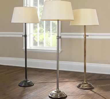 Chelsea Floor Lamp & Tapered Drum Linen Shade, Antique Nickel/Ivory, Large - Pottery Barn