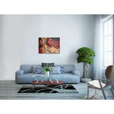 """Images 2000 """"Red Abstract I"""" by Tina O. Original Painting on Wrapped Canvas Wall Art - Home Depot"""