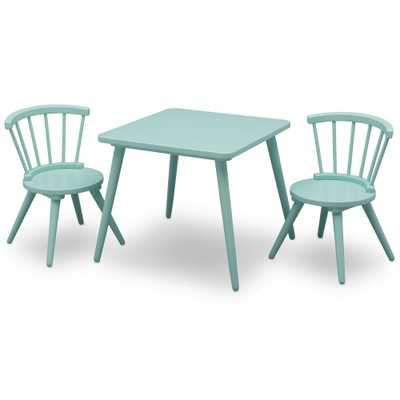 Aqua (Blue) Windsor Table and 2-Chair Set - Home Depot