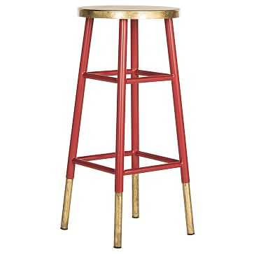Gold Dipped Barstool, Red - West Elm