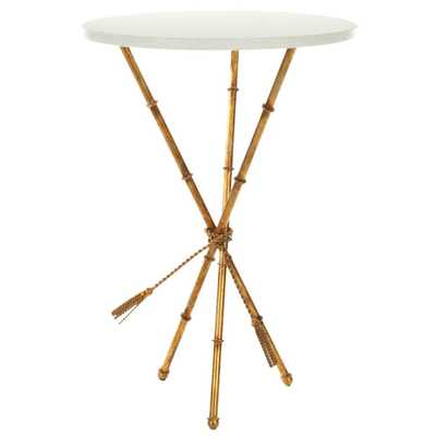 Ross White and Gold End Table, White/Gold - Home Depot