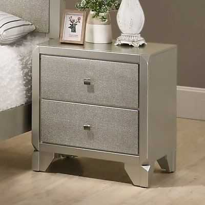 Silver Orchid Carew Contemporary Champagne Silvertone Wood 2-drawer Nightstand - eBay