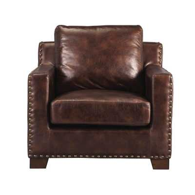 Garrison Brown Bonded Leather Arm Chair, Bonded Leather Brown - Home Depot